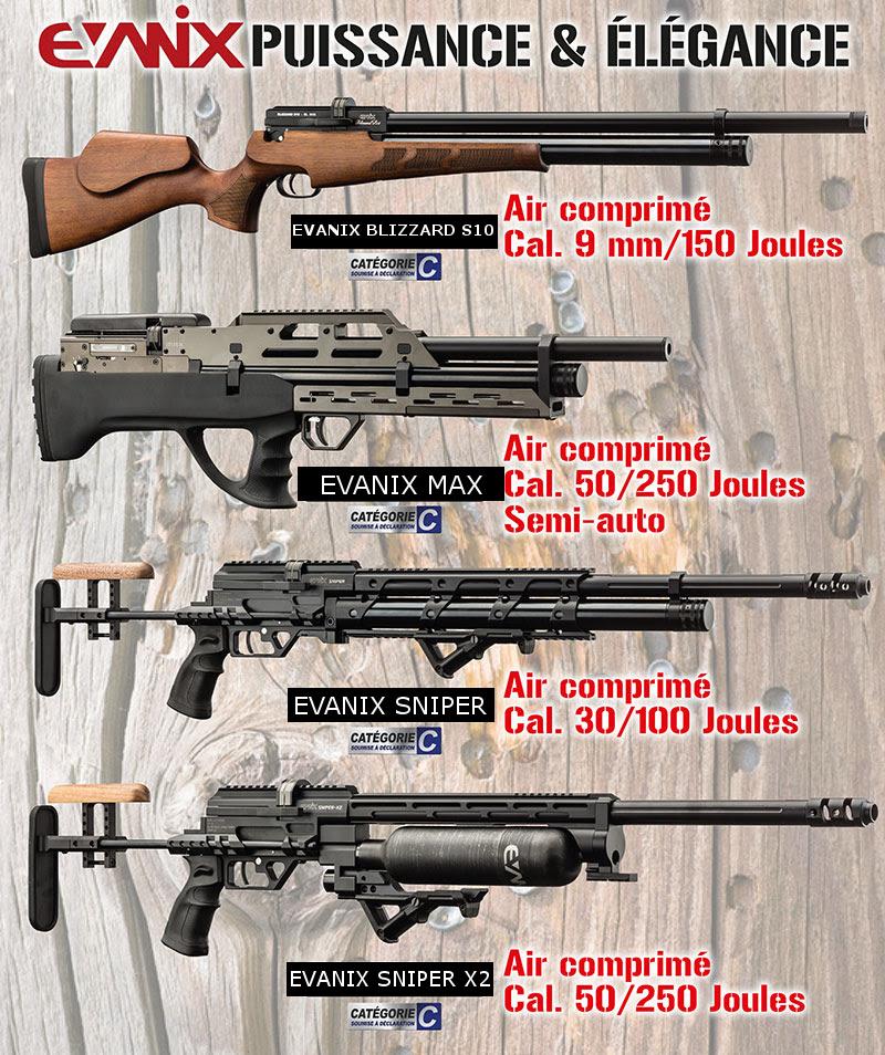 EVANIX Carabines à air PCP de 60 à 250 joules